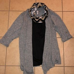 White Stag blouse/cardigan + scarf